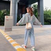 闊腿韓版寬鬆牛仔吊帶褲女秋季新款高腰垂感顯瘦小個子bf褲子 韓國時尚週