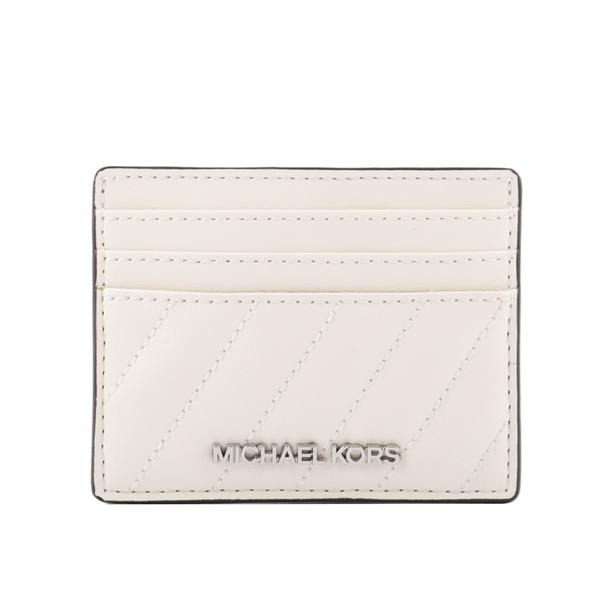 【MICHAEL KORS】銀字縫線軟皮革卡片夾(白色) 35F0STVD3U OPWHI