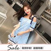 露肩蕾絲拼接吊帶連衣裙心機氣質短裙#