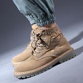 高筒鞋—馬丁靴男高筒秋季男靴中幫戶外沙漠靴英倫復古靴子男短靴工裝靴 依夏嚴選
