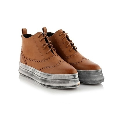 平底短靴-歐美舒適尖頭繫帶女馬丁靴3色73is41【時尚巴黎】