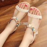 海邊度假平底涼鞋女新款波西米亞簡約平跟涼鞋一字扣女鞋子   卡菲婭