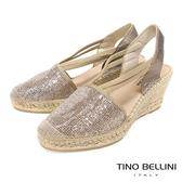 Tino Bellini 西班牙進口細緻亮片麻編楔型涼鞋 _ 玫瑰金 A83014 歐洲進口款