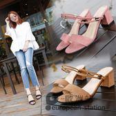 涼鞋/女鞋夏季高跟兩穿粗跟一字拖露趾中跟「歐洲站」