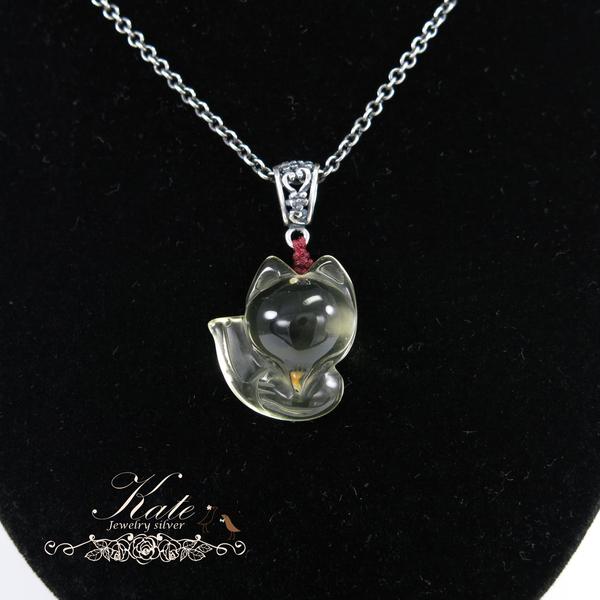 銀飾純銀項鍊 天然黃水晶 狐狸墜 招好人緣 提升魅力 925純銀寶石銀墜 KATE銀飾