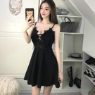 夜店女裝低胸性感衣服夜店小個子V領女裝吊帶裙顯瘦遮肚裙子夜場洋裝