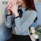 (促銷全場九折)蝴蝶結襯衫女長袖春裝新款韓版潮職業OL上衣韓范時尚雪紡小衫