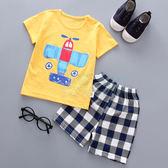 黃色手繪飛機 男童兩件式 上衣+褲子(80-110)【巴布百貨】