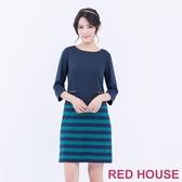 【RED HOUSE 蕾赫斯】圓領素色條紋洋裝(共2色)