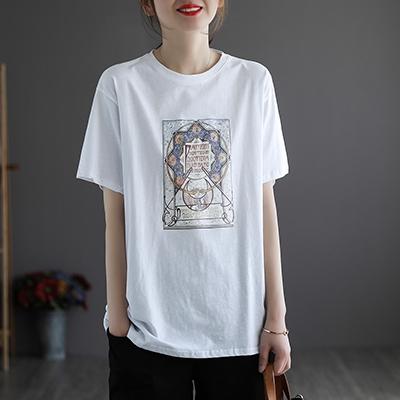 純棉復古印花短袖T恤 寬鬆圓領套頭上衣/3色-夢想家-0329
