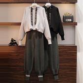 長袖套裝中大尺碼L-4XL/7730秋冬新款大碼胖妹妹洋氣針織衫衛衣外套休閒褲兩件套4F082依品國際
