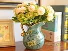 墨菲歐式田園陶瓷小花瓶美式客廳裝飾擺件仿真花藝套裝干花插花器「時尚彩紅屋」