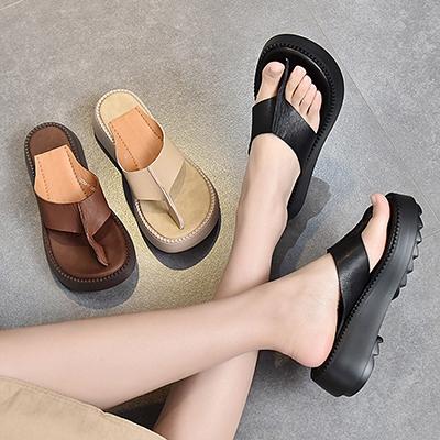 厚底人字拖女 真皮松糕底拖鞋 外穿休閒拖鞋/3色-夢想家-標準碼-0409