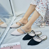 包頭半拖鞋女外穿 新款 夏季 時尚網紅款百搭尖頭平底涼拖鞋 兩穿 超值價