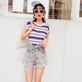 條紋無袖針織衫女夏季2018新款圓領短袖T恤百搭ins超火的背心上衣
