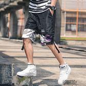 假兩件夏季男士迷彩拼接寬鬆運動休閑短褲男時尚潮流嘻哈五分褲男【街頭布衣】