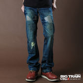 BIG TRAIN 打釘配皮繡花靴型褲-男-中藍