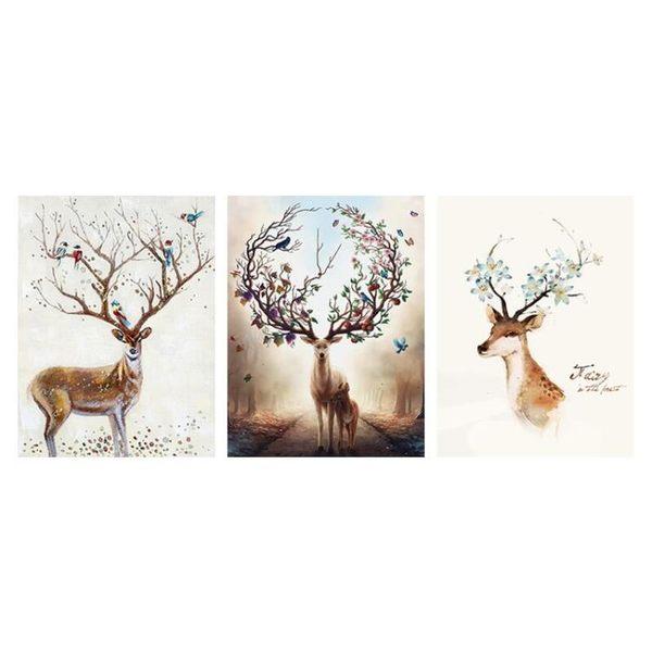 壁畫 時尚裝飾畫客廳畫壁畫沙發背景墻畫掛畫麋鹿小鹿無框畫北歐風格畫