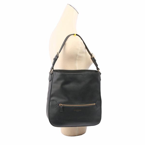 【LONGCHAMP】平紋小牛皮肩背HOBO包(黑色) 1303888001