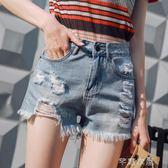 破洞牛仔短褲女夏新款高腰韓版寬鬆顯瘦短褲女學生闊腿熱褲潮      芊惠衣屋