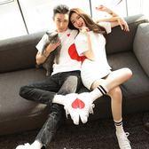 情侶裝愛心短袖T恤純白色新款男女寬鬆韓版學生半袖  居家物語