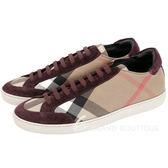 BURBERRY HOUSE 格紋拼接麂皮綁帶休閒鞋(女鞋/紫紅色) 1640058-87