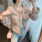 VK精品服飾 韓國風時尚粗花呢網紅名媛氣質小香風單品外套