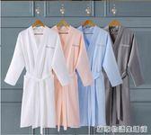 五星級酒店浴袍女純棉薄款睡袍男士夏季全棉成人華夫格吸水浴衣  居家物語