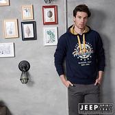 【JEEP】美式經典圖騰刷毛長袖帽TEE (深藍)