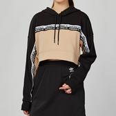 Adidas Originals R.Y.V 女款 黑色 串標 短版 舒適 休閒 連帽 長袖 上衣 EC0766