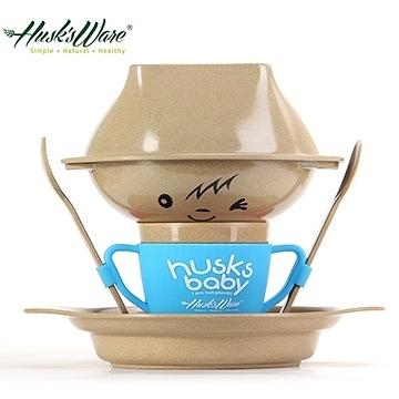 【南紡購物中心】【Husk's ware】美國Husk's ware稻殼天然無毒環保兒童餐具經典人偶款-藍色