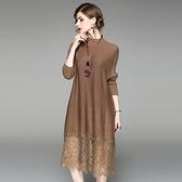 洋裝-長袖針織拼接蕾絲寬鬆女連身裙2色73of129[巴黎精品]