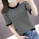 短袖T恤 夏季圓領條紋短袖冰絲t恤女短款修身打底衫寬松薄款針織半袖上衣 快速出貨