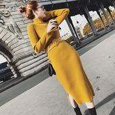長袖洋裝 外套毛衣女秋冬慵懶風套頭高領修身中長版過膝