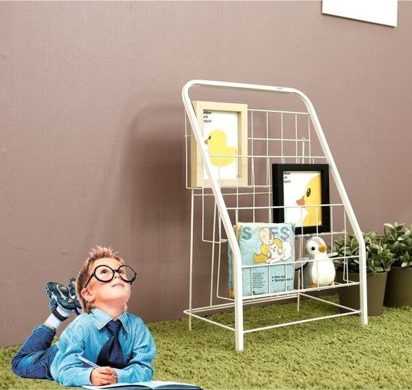 兒童書架簡易繪本架書報架落地雜誌架展示架鐵藝小書架3層