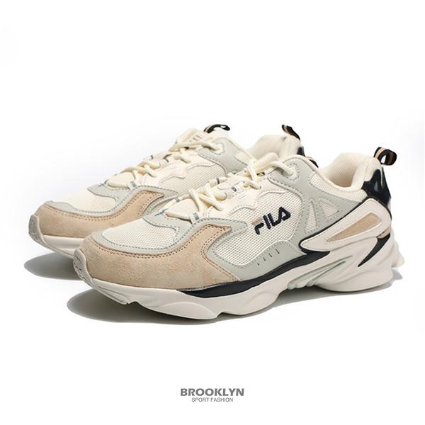 FILA 休閒鞋 老爹鞋 奶油色 黑 拼接 復古 SKIPPER 男 (布魯克林) 4J528T734