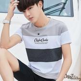 男士短袖t恤 2020夏季韓版圓領潮流半截袖體恤男裝上衣服條紋打底衫 JX9『Bad boy時尚』