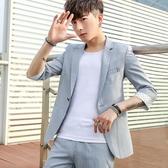 西裝套裝 新款男士七分袖西裝套裝韓版外套半袖小西服青年帥氣夏裝薄款【快速出貨八折下殺】