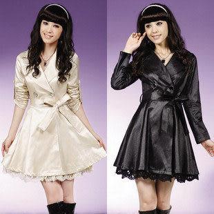 春夏裝新款女士風衣 女 外套 蕾絲邊裝飾修身氣質風衣