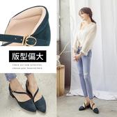 Ann'S瘦瘦的-延伸修長腳背斜帶低跟尖頭鞋-細絨藍