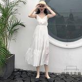 大碼女裝高腰顯瘦V領白色收腰吊帶連身裙子【時尚大衣櫥】
