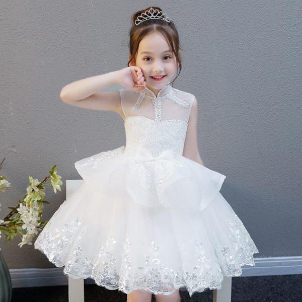 女童婚紗兒童生日晚禮服公主裙白色夏寶寶花童鋼琴演出服 巴黎時尚