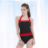 ★奧可那★ 黑底紅邊單件式泳衣