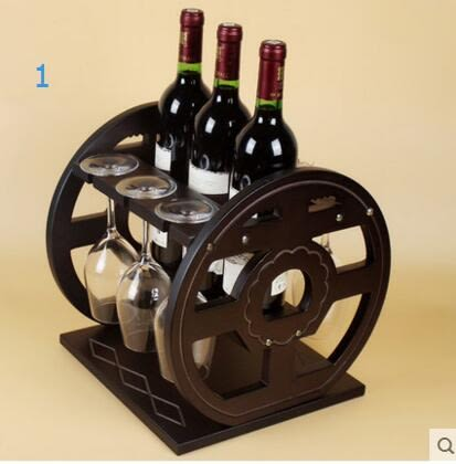木質實木紅酒架創意客廳裝飾擺件紅酒杯架葡萄酒架子酒架實木酒櫃