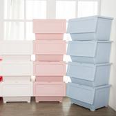 【收納王妃】40L粉嫩北歐風上掀蓋式 防塵收納箱(40L/6入組)白2/粉2/藍2(