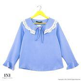【INI】優雅實穿、好感剪裁雪紡上衣.淡藍色