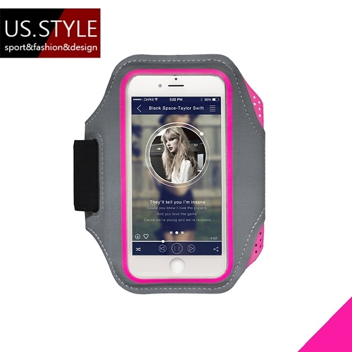 【US.STYLE】5.5吋戶外運動手機臂套-星際時尚款(粉色)