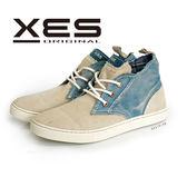 XES 男鞋 高筒休閒鞋 復古牛仔風 水洗風格 帆布鞋 牛仔藍