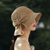 小沿草帽女夏天防曬帽海邊沙灘帽蝴蝶結漁夫帽可折疊【聚寶屋】