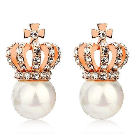 皇冠珍珠吊墜耳環